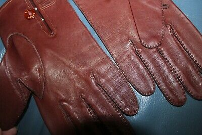 Vintage Dents Mens Leather Hand Stitched Gloves Unused With Sample Label Size 8