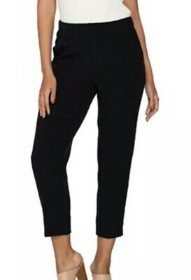 Dennis Basso plus 18 Textured Pull-On Crop Pants Black NEW A289808