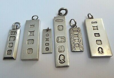 Lovely Collection 6 English Antique Solid Sterling Silver Ingot Pendant Fobs