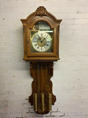 Stunning French Carved Oak Eight Day  Wall Clock
