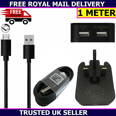Dual USB Mains Charger Plug & 1 Meter USB Cable For Samsung Galaxy A10 A10s 2019