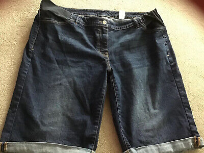 "Next Indigo Blue Denim Maternity Shorts / Crops Size 18 /12""Leg / Stretch Panels"