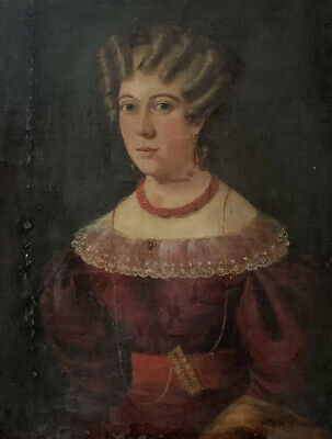 c.1800 FRENCH LARGE PORTRAIT OF SMARTLY DRESSED YOUNG LADY - INCREDIBLE HAIR