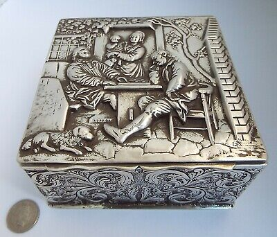 Superb Large Heavy English Antique 1897 Solid Silver & Gilt Cigarette Table Box
