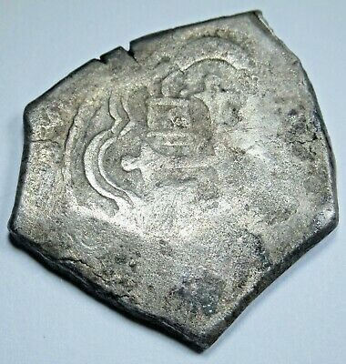 1600's Shipwreck Spanish Mexico Silver 4 Reales Real Antique Pirate Cob Coin
