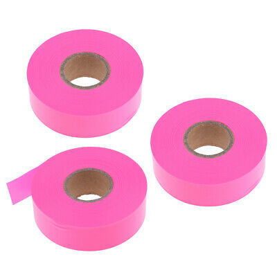 3 Pack Pink Color Hunting Flagging Trail Marking Ribbon 45m.L x 10in.W