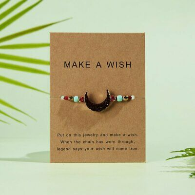 NEW Moon Rope Bracelet Bangle Friendship Couple Card Lucky Jewellery Wine Red