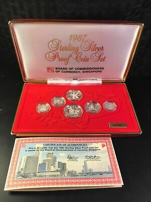 1987 Singapore 6 Coin Silver Proof Set with Original Box Lot#B589