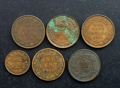 Canada collection of 6 early 1 cent copper coins (1861 - 1935) Mixed condition