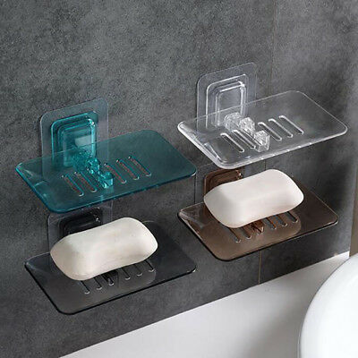 Plastic Bathroom Shower Strong Suction Cup Soap Dish Tray Wall Holder Storage DB