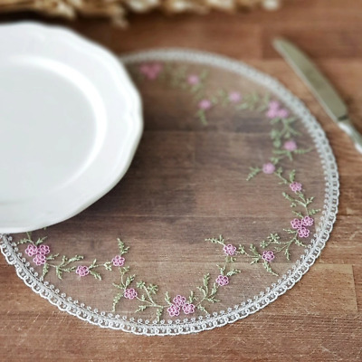 White round lace doily, placemat 30 cm (11.81 inch) diameter, pink flowers for h