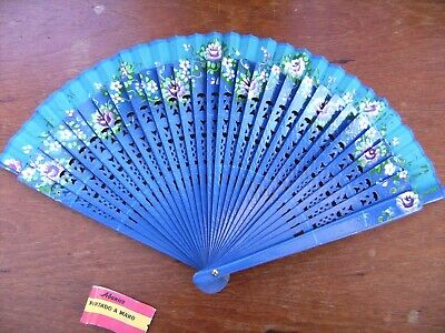 Vintage Abanico Spanish Flamenco Wooden Hand Painted blue Fan with Flowers