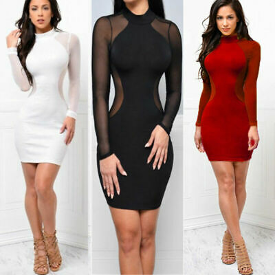 Bandage Sexy US Cocktail Bodycon Evening Mini Club Dress Women Party Long Sleeve