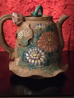 Antique 19 Th C Chinese / Japanese Yixing / Banko Clay Pottery Enamelled Teapot