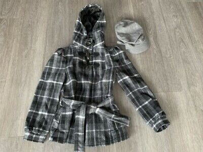 KYLIE M&Co GIRLS COAT GREY TARTAN WOOL LOOK AND CAP AGE 10 YEARS 140cm