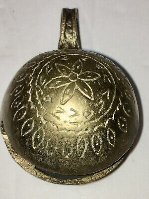 Collectible Antique Brass Hanging Bell; Cow Sheep Goat