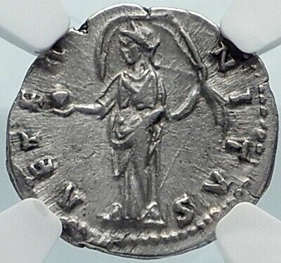 Diva FAUSTINA I Senior Authentic Ancient 146AD Silver Roman Coin NGC i81839