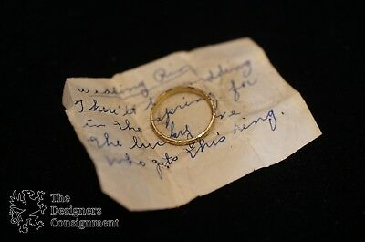 Antique Sterling Silver Art Deco .925 Gold Tone Stamped Floral Wedding Ring Sz 6