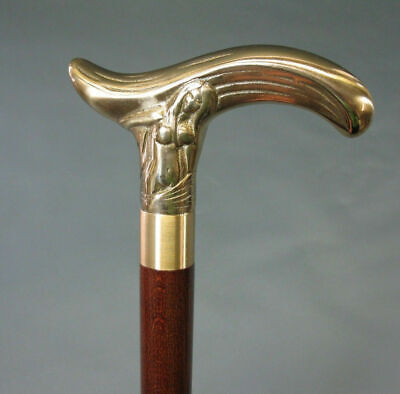 Brass Nude lady Solid brass Walking Stick Victorian Wooden Cane Antique Gift