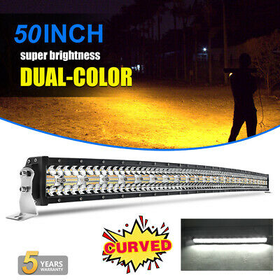 "50"" CURVED LED Light Bar Amber White Strobe Flash Tri Rows Drving Fog Lamp 52"""