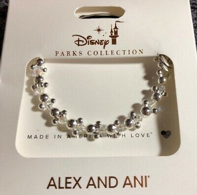 Disney Parks Alex And Ani Mickey And Minnie Mouse Icon Silver Finish Bracelet