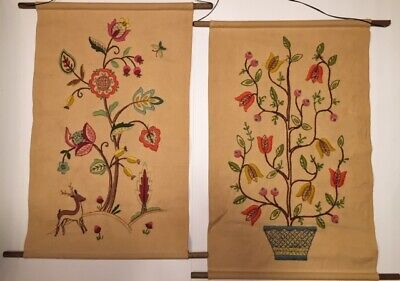 Vintage Crewel Hand Embroidered Hanging Picture Panel Set of 2 Tree Of Life