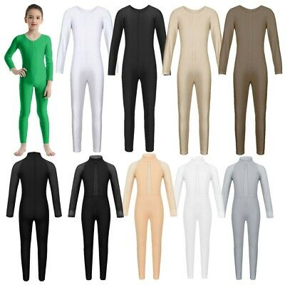 Girls Gymnastics Leotard Ballet Dance Wear Jumpsuit Unitard Long Sleeves Catsuit