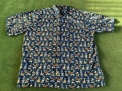 Disney Store Button Down Collared Shirt Goofy Mickey Donald Pluto Size Xl