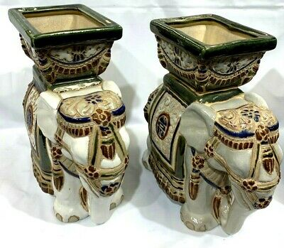 Pair of Porcelain Elephant Plant/Candle Holders