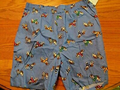 Blue St. Bernards with Sweaters~Holiday Men's BOXERS~Size SMALL~New W/Tags