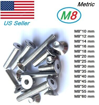 M8x1.25 metric 10mm to 60mm Hex bolt Flat head Stainless Steel Countersunk QT=10
