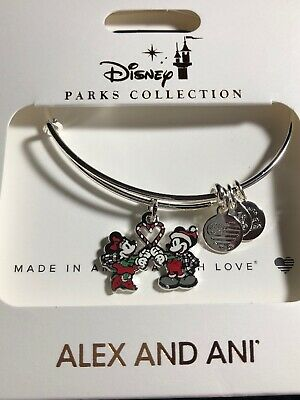 Disney Parks Alex And Ani Christmas Mickey Minnie Candy Cane Heart Bracelet