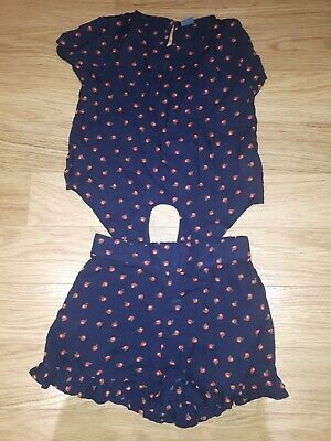 Girls NEXT Top And Shorts Outfit- 7 Years - Dark Blue With Apple Design