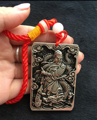 China old  Hand Carved  Tibetan silver  Guan Yu  Loong  Amulet h617