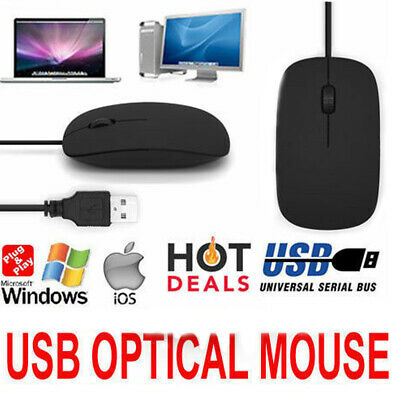 Wired Usb Optical Mouse Scroll Wheel For Laptop Pc Mac Computer - Black Uk