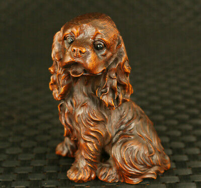 old Chinese boxwood hand carved lovely dog statue home exquisite decoration gift
