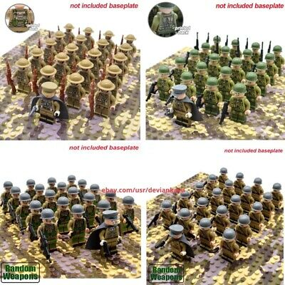 2019 New WW2 Allied 21pcs US UK Army Soldiers With Officer Fit Lego Minifigures
