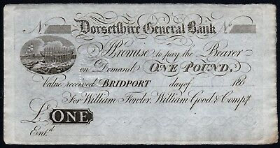 180- DORSETSHIRE GENERAL BANK £1 BANKNOTE * UNISSUED * EF-gEF * Outing 290a *