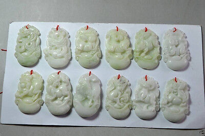 3.6 cm * / 12pc Chinese carved jade natural 12 zodiac h653