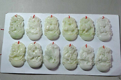 3.6 cm * / 12pc Chinese carved jade natural 12 zodiac h654