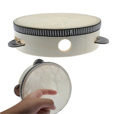 """6"""" Musical Tambourine Drum Round Percussion  Drums Kids Toys Wooden Toy YW"""