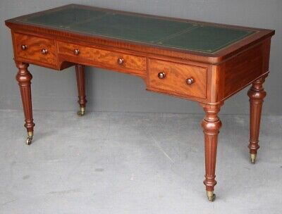 Antique Victorian period writing table desk gilt tooled leather inlaid 1880's