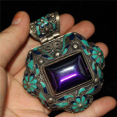 """2.95"""" Chinese Exquisite silver Cloisonne inlay purple zircon Hand-made Pendant"""