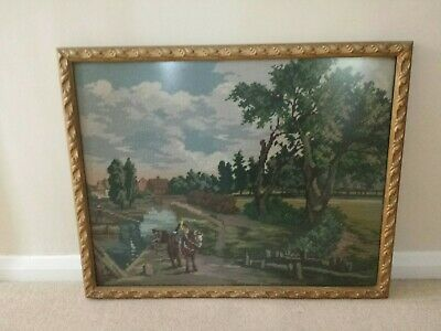 Vintage Constable - Flatford Mill Tapestry Cross Stitch In Frame.