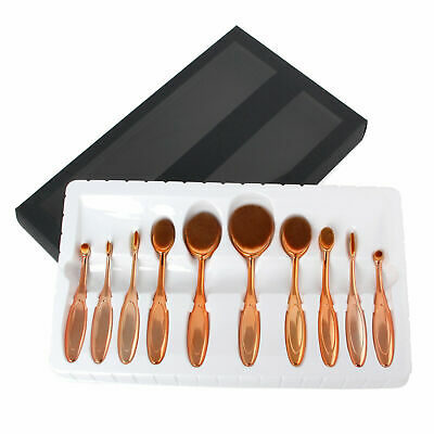 10 Professional Makeup Brushes Set Oval Cream Puff Toothbrush Brush Rose Gold