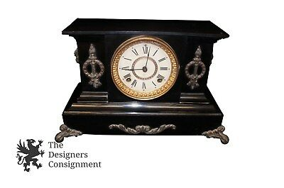 Antique 19th Century Ansonia Slate Mantel Clock Brass Lions Head & Torch Accents