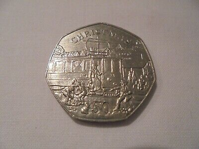 1989 - ISLE OF MAN - CHRISTMAS 50 p FIFTY PENCE COIN