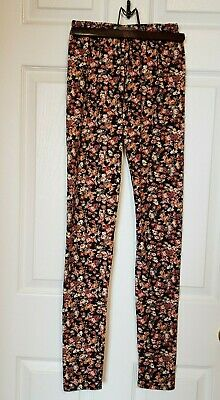 Suzy Shier Women's Leggings XS Black With Floral Print