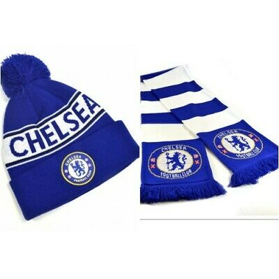 CHELSEA FC Text Cuff Knitted Bobble Hat & Scarf