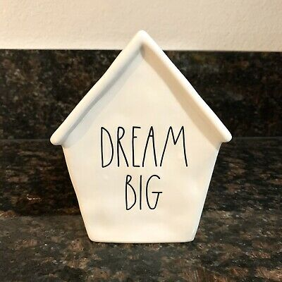 New Rae Dunn Christmas DREAM BIG Piggy Bank Birdhouse Ceramic LL